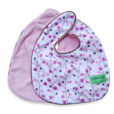 Caden Lane® Bib 2-Pack in Pink Solid & Pink Twiggy
