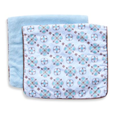 Caden Lane® Burp Cloth 2-Pack in Blue Solid & Blue Moroccan