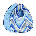 Caden Lane® Ikat Bib 2-Pack in Blue Solid & Blue Chevron