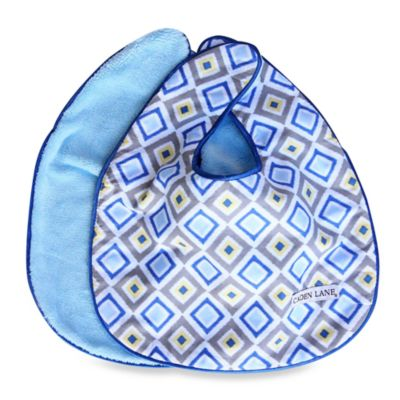 Caden Lane® Ikat Bib 2-Pack in Blue Solid & Blue Diamond
