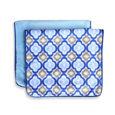 Caden Lane® Ikat Burp Cloth 2-Pack in Blue Solid & Blue Mod Print