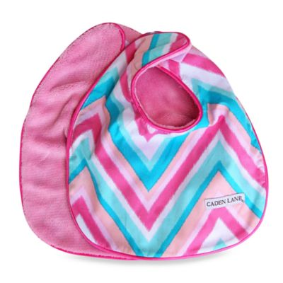 Caden Lane® Ikat Bib 2-Pack in Pink Solid & Pink Chevron
