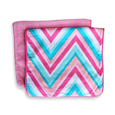 Caden Lane® Ikat Burp Cloth 2-Pack in Pink Solid & Pink Chevron