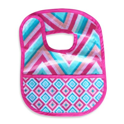 Caden Lane® Chevron/Diamond Reversible Coated Bib in Pink