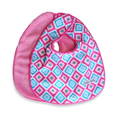 Caden Lane® Ikat Diamond 2-Pack Bib Set in Pink