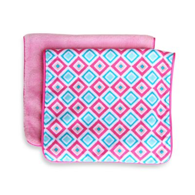 Caden Lane® Ikat Diamond 2-Pack Burp Cloths in Pink