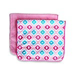 Caden Lane® Ikat Burp Cloth 2-Pack in Pink Solid & Pink Mod Print