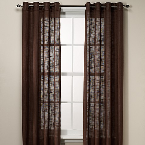 B. Smith Origami Grommet 63-Inch Window Curtain Panel in Chocolate