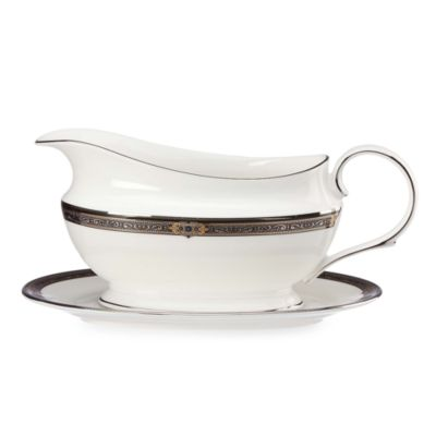 Lenox® Vintage Jewel® Gravy Boat and Stand in White