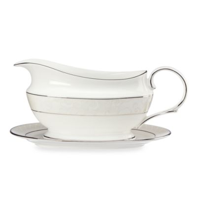 Lenox® Venetian Lace Gravy Boat and Stand in White