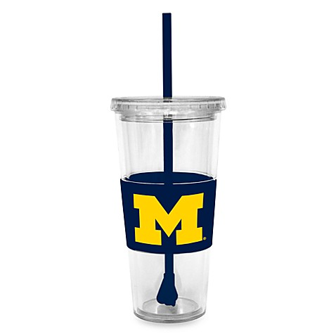 Double Wall 22-Ounce Tumbler with Lid & Straw - University of Michigan