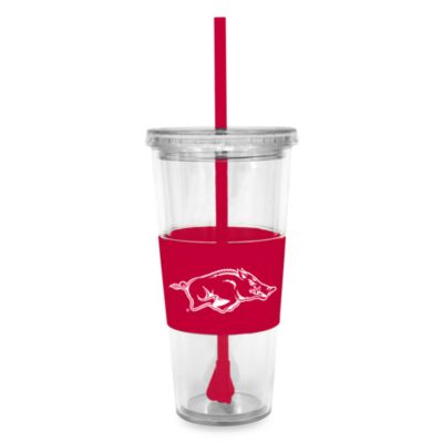 Double Wall 22-Ounce Tumbler with Lid & Straw - University of Arkansas