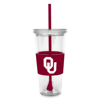 Double Wall 22-Ounce Tumbler with Lid & Straw - University of Oklahoma