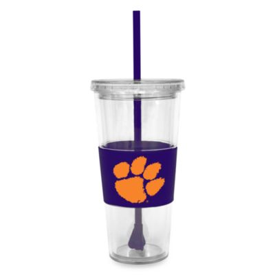 Double Wall 22-Ounce Tumbler with Lid & Straw - Clemson University