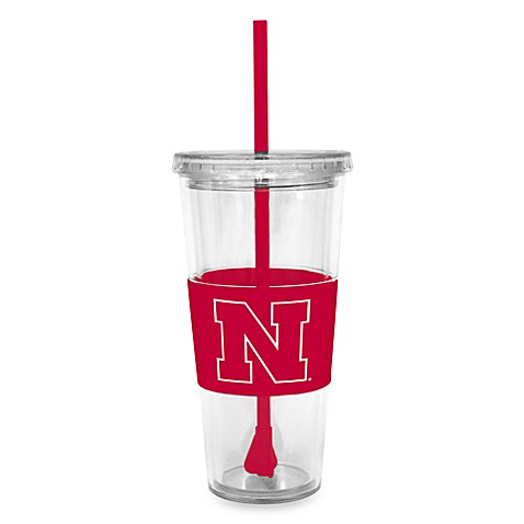 Double Wall 22-Ounce Tumbler with Lid & Straw - University of Nebraska