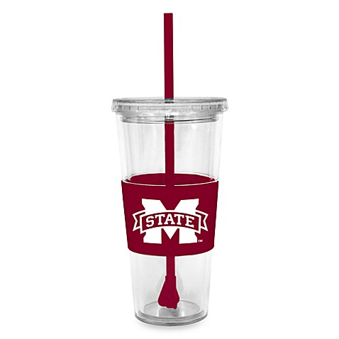 Double Wall 22-Ounce Tumbler with Lid & Straw - Mississippi State University