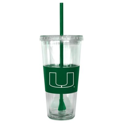 University of Miami Double Wall 22-Ounce Tumbler with Lid & Straw