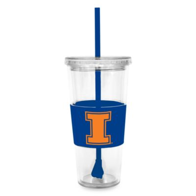 Double Wall 22-Ounce Tumbler with Lid & Straw - University of Illinois