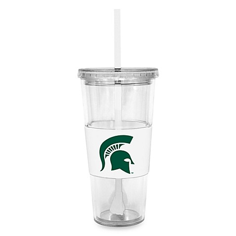 Double Wall 22-Ounce Tumbler with Lid & Straw - Michigan State University