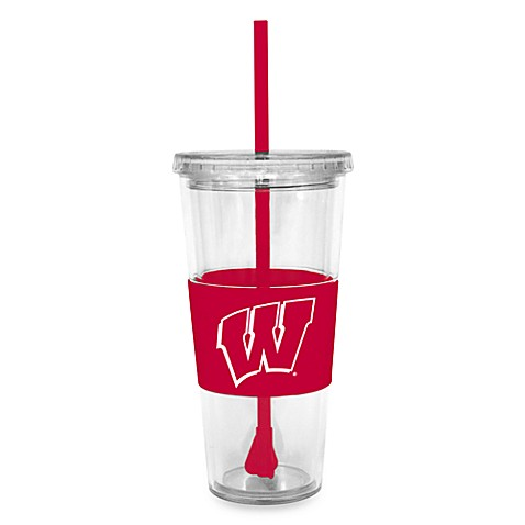 Double Wall 22-Ounce Tumbler with Lid & Straw - Wisconsin University