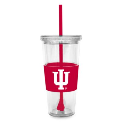 Double Wall 22-Ounce Tumbler with Lid & Straw - Indiana University