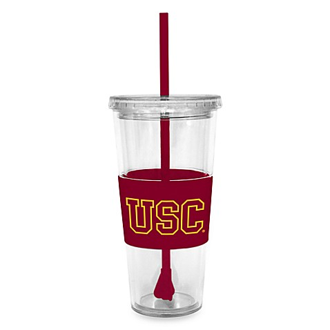 Double Wall 22-Ounce Tumbler with Lid & Straw - University of Southern California