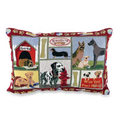 "PB Paws Pet Collection Dog Days Tapestry Red 13"" x 9"" Decorative Pillow"