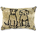 PB Paws Pet Collection Dog Friends Gold Tapestry Decorative Pillows (Set of 2)