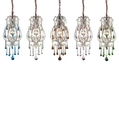 ELK Lighting Opulence 1-Light Pendant in Antique White/Amber Crystals