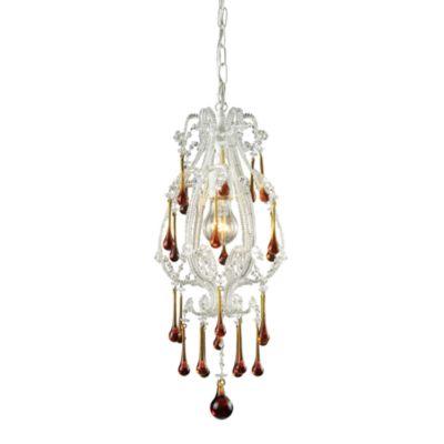 ELK Lighting Opulence 1-Light Pendant in Antique White/Amber Crystals