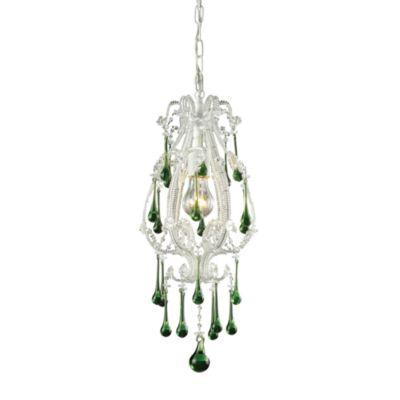 ELK Lighting Opulence 1-Light Pendant in Antique White/Lime Crystals