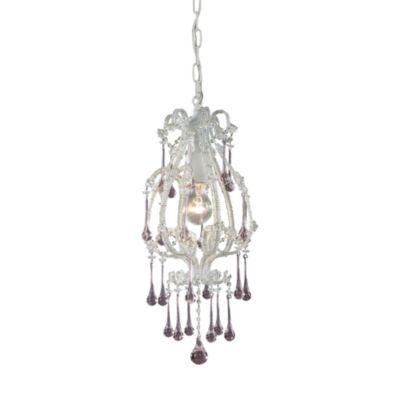 ELK Lighting Opulence 1-Light Pendant in Antique White/Rose Crystals