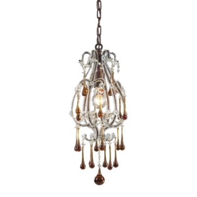 ELK Lighting Opulence 1-Light Pendant in Rust/Amber Crystals