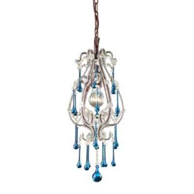 ELK Lighting Opulence 1-Light Pendant in Rust/Aqua Crystals