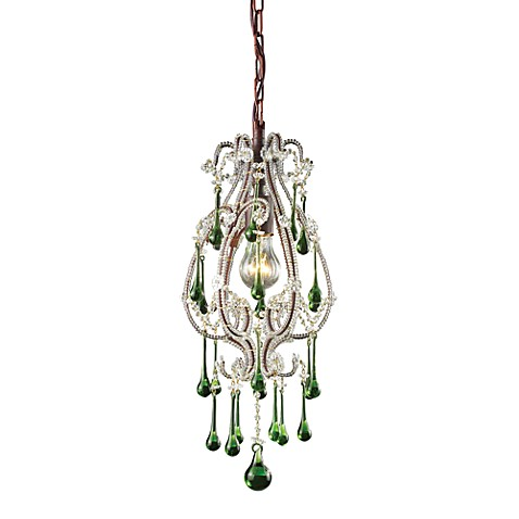 ELK Lighting Opulence 1-Light Pendant in Rust/Lime Crystals