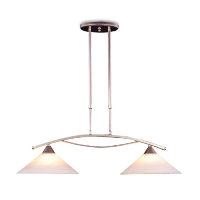 ELK Lighting Elysburg 2-Light Island Light in Satin Nickel/White Swirl Glass