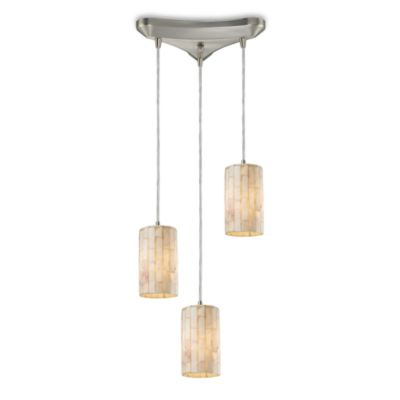 ELK Lighting Piedra 3-Light Genuine Stone Pendant in Satin Nickel