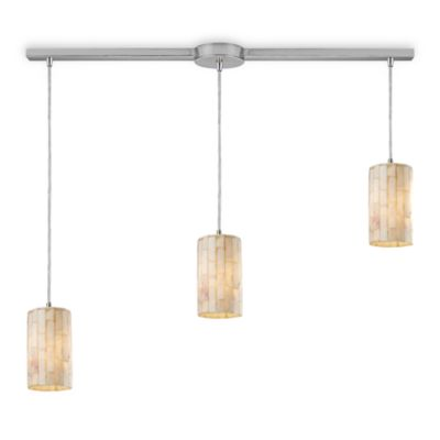 ELK Lighting Piedra 3-Light Genuine Stone Linear Pendant in Satin Nickel