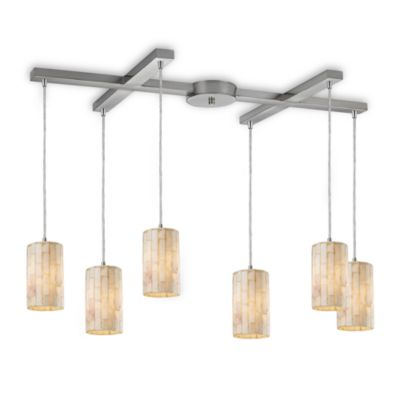ELK Lighting Piedra 6-Light Genuine Stone Pendant in Satin Nickel