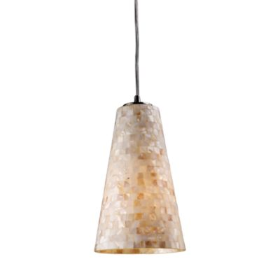 ELK Lighting Capri 1-Light Mini Fluted Pendant in Satin Nickel