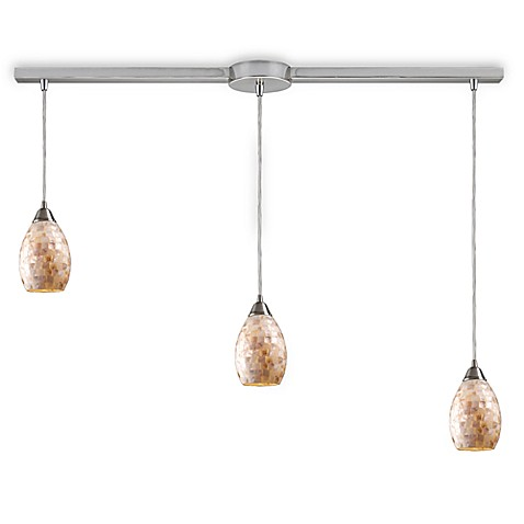 ELK Lighting Capri 3-Light Curved Linear Pendant in Satin Nickel