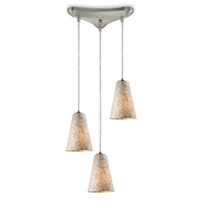 ELK Lighting Capri 3-Light Curved Pendant in Satin Nickel