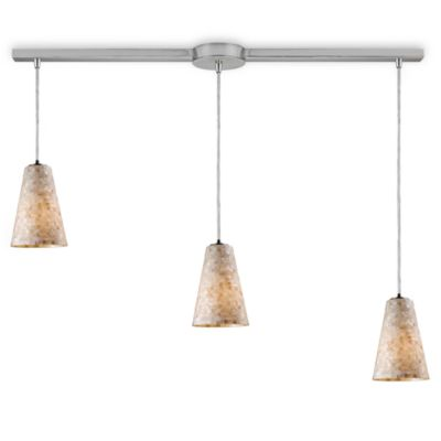ELK Lighting Capri 3-Light Fluted Linear Pendant in Satin Nickel