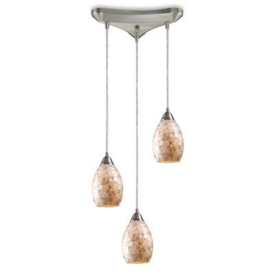 ELK Lighting Capri 3-Light Fluted Pendant in Satin Nickel