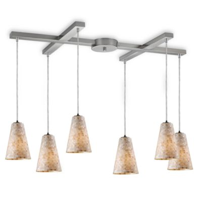 ELK Lighting Capri 6-Light Fluted Pendant in Satin Nickel