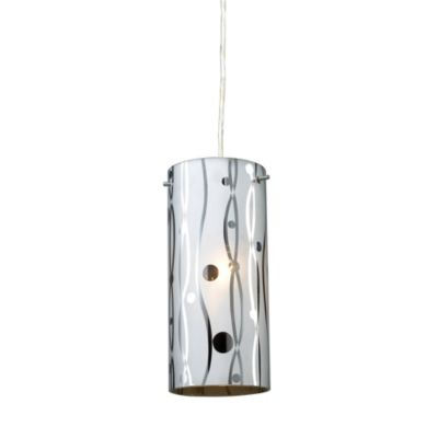 ELK Lighting Chromia 1-Light Pendant in Polished Chrome/Lines and Dots
