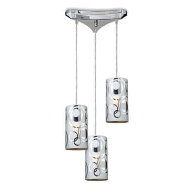 ELK Lighting Chromia 3-Light Pendant in Polished Chrome/Rings