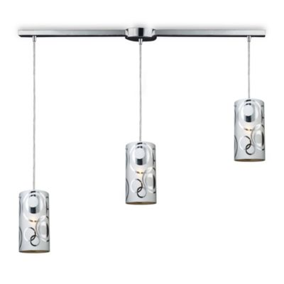 ELK Lighting Chromia 3-Light Linear Pendant in Polished Chrome/Rings