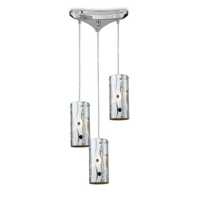ELK Lighting Chromia 3-Light Pendant in Polished Chrome/Lines and Dots