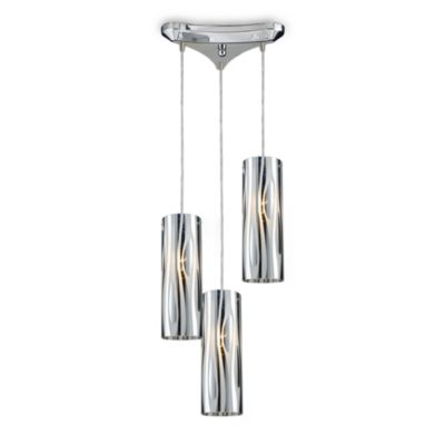ELK Lighting Chromia 3-Light Pendant in Polished Chrome/Wavy